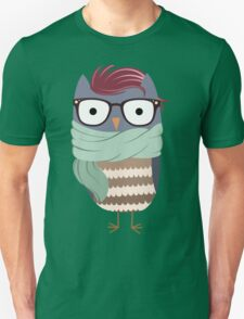 Hipster Owl Transparent Background Unisex T-Shirt