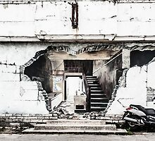 Virtual building collapse and Yamaha XMax at Swanage, UK by herbpayne