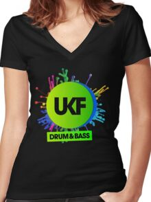 UKF-Drum And Bass Women's Fitted V-Neck T-Shirt