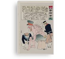Japanese sailor and soldier are tending to the wounds in the legs and back of a Russian soldier 002 Canvas Print