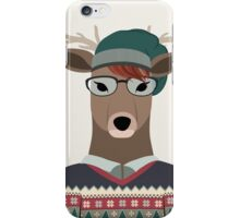 Hipster Deer Transparent Background iPhone Case/Skin