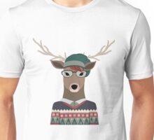 Hipster Deer Transparent Background Unisex T-Shirt