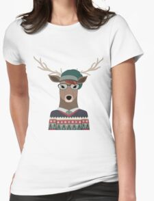 Hipster Deer Transparent Background Womens Fitted T-Shirt