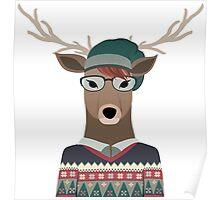 Hipster Deer Transparent Background Poster