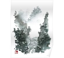 Misty Valley Traditional Chinese Landscape Poster