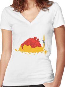Sleeping Dragon Women's Fitted V-Neck T-Shirt