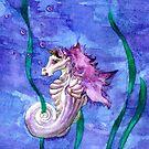 Unicorn Seahorse Underwater Fantasy by Stephanie Whitcomb