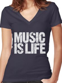 Music is Life (white) Women's Fitted V-Neck T-Shirt