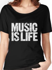 Music is Life (white) Women's Relaxed Fit T-Shirt