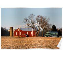 Sun Setting on a Pennsylvania Bottomland Farm Poster