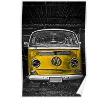 Yellow combi Volkswagen Poster