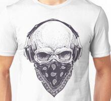 Skull in Headphones Unisex T-Shirt