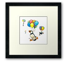 The Puffins Are Getting Carried Away Framed Print