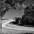 Farm with winding driveway by Lee Hopkins