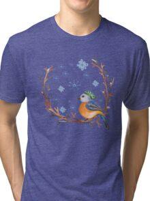 Watercolor Winter Bird Tri-blend T-Shirt
