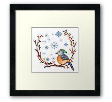 Watercolor Winter Bird Framed Print