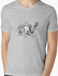 The Ram skull and bird Mens V-Neck T-Shirt