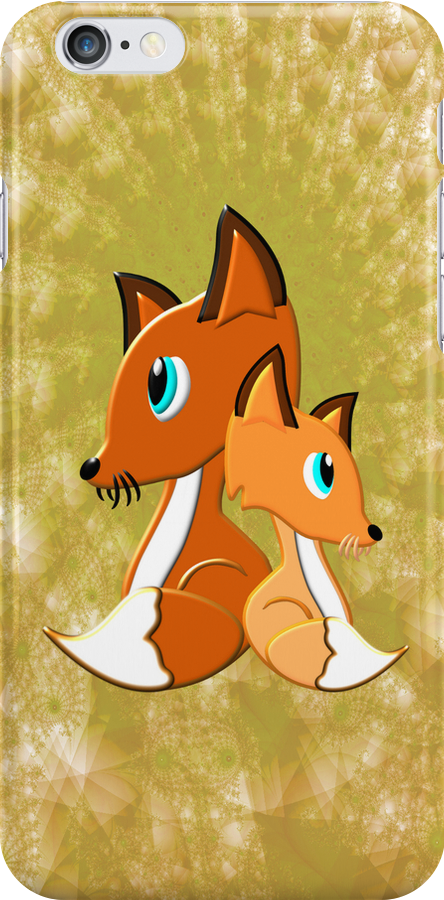 Foxes iPhone case by Dennis Melling