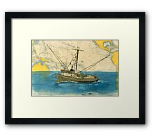 Nicole Marie Tuna Fishing Boat Cathy Peek Nautical Chart Map Art Framed Print