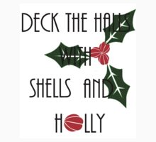 Deck the Halls with Shells and Holly - Mermaid Christmas Baby Tee