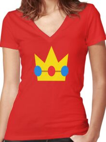 Super Mario Peach Icon Women's Fitted V-Neck T-Shirt