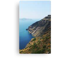 Steep Coast Line in Santorini Bay VRS2 Canvas Print