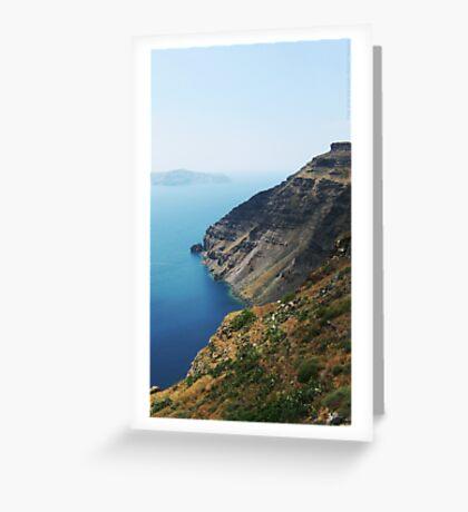 Steep Coast Line in Santorini Bay VRS2 Greeting Card