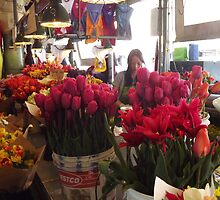 A Flower Stand, Pike's Public Market  by seeingred13