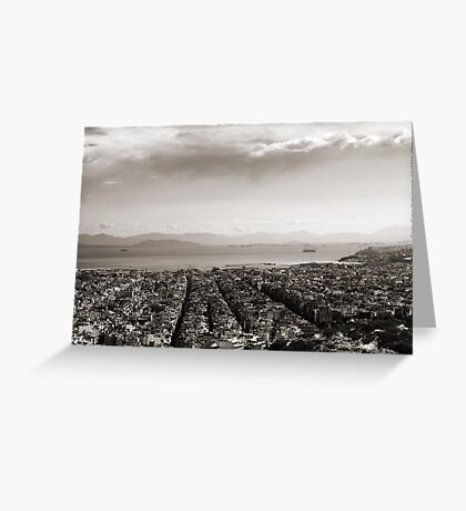 View to Athens Harbor (sepia) VRS2 Greeting Card