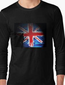 British Flag & Guitarist (black background) Long Sleeve T-Shirt