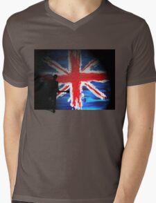 British Flag & Guitarist (black background) Mens V-Neck T-Shirt