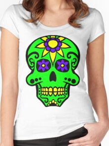 Day of the Dead  skull 2 green purple and yellow Women's Fitted Scoop T-Shirt