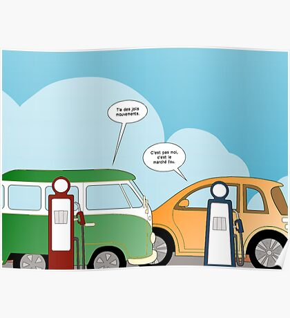 les voitures et les marchés en bd Poster