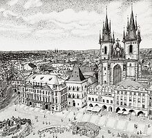 Prague City Square by Matan Chaffee