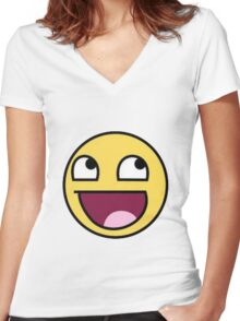 Epic Face Shirt Women's Fitted V-Neck T-Shirt