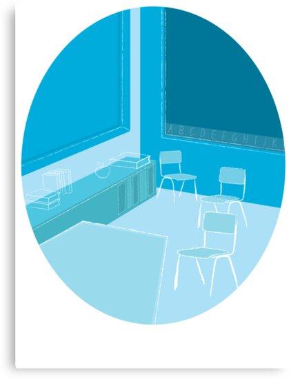 a school teacher's Classroom in blue by jazzydevil