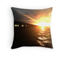 a bridge to the setting sun Throw Pillow