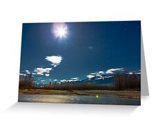 By the Light of the Full Moon Over the Wallace and Skykomish Rivers and Haystack Mountain Greeting Card
