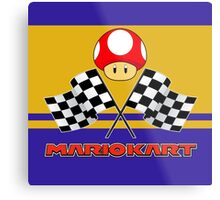 Mario Kart Chequered Flags Metal Print
