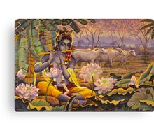 Krishna. Evening flute Canvas Print