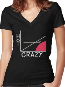 Crazy vs. Hot Women's Fitted V-Neck T-Shirt