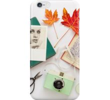 Autumn Leaves and Books iPhone Case/Skin