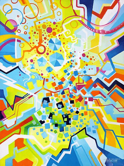 Birth of the Circle - Abstract Acrylic Canvas Painting by jeffjag