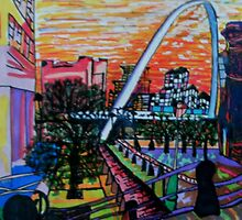 Gateshead Millennium Bridge from Newcastle by George Hunter