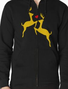 ۞»♥Adorable Jumping Deer Couple Clothing & Stickers♥«۞ Zipped Hoodie