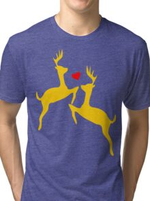 ۞»♥Adorable Jumping Deer Couple Clothing & Stickers♥«۞ Tri-blend T-Shirt