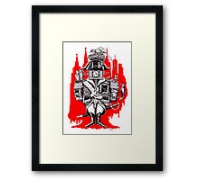 Imperial Clock surreal pen ink black white and red drawing Framed Print