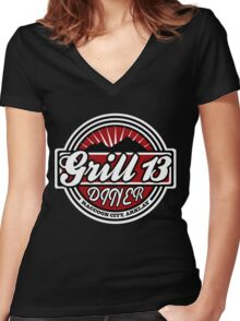 Grill 13, Raccoon City - Resident Evil Diner Tee Women's Fitted V-Neck T-Shirt