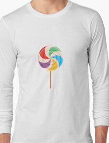 Colorful Lollypop on White Long Sleeve T-Shirt