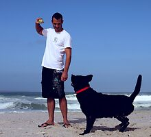 Playing Fetch ont he Beach by JamDonut